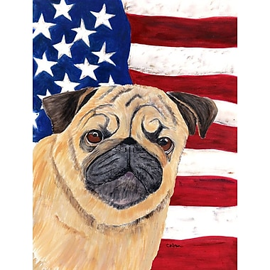 Caroline's Treasures USA American House Vertical Flag; Pug (Beige)