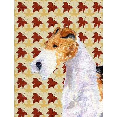 East Urban Home Fall Leaves House Vertical Flag; Fox Terrier (White and Biege)