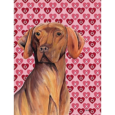 Caroline's Treasures Dalmatian Hearts Love and Valentine's Day House Vertical Flag; Vizsla (Brown)
