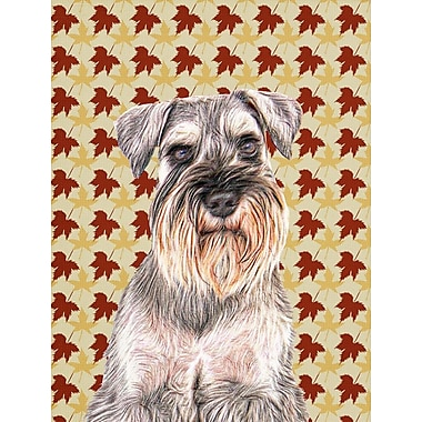 Caroline's Treasures Fall Leaves 2-Sided Garden Flag; Schnauzer (Beige and Brown)
