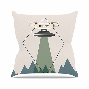East Urban Home Alias Believe Geometric Outdoor Throw Pillow; 16'' H x 16'' W x 5'' D
