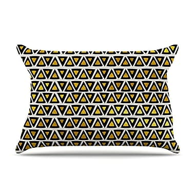 East Urban Home Pom Graphic Design 'Aztec Triangles Gold' Pillow Case