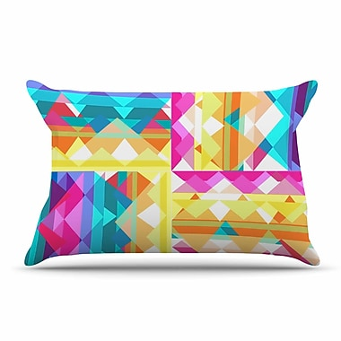 East Urban Home Miranda Mol 'Triangle Checker' Pastel Rainbow Pillow Case