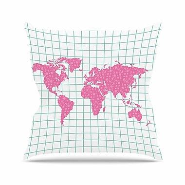 East Urban Home Famenxt Grid Map Digital Outdoor Throw Pillow; 16'' H x 16'' W x 5'' D