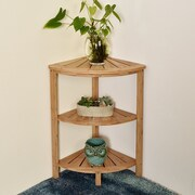 Welland Industries LLC 3-Tier Bamboo Corner Shelf