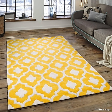 AllStar Rugs Hand-Tufted Yellow Area Rug