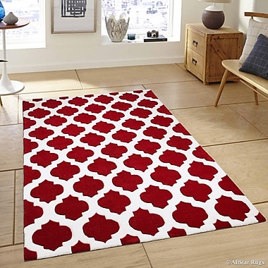 AllStar Rugs Hand-Tufted Red Area Rug
