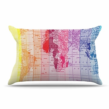 East Urban Home Catherine Holcombe 'Rainbow World Map' Travel Pillow Case