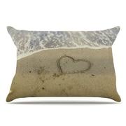 East Urban Home Debbra Obertanec 'Beach Heart' Coastal Pillow Case