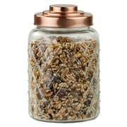 Gracie Oaks Glass Kitchen Canister w/ Copper Top