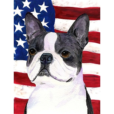 Caroline's Treasures USA American House Vertical Flag; Boston Terrier (White & Gray)