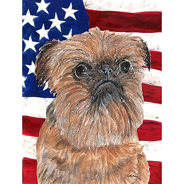 Caroline's Treasures USA American House Vertical Flag; Brussels Griffon (Brown)