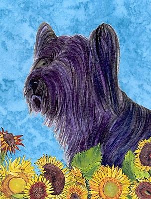 East Urban Home Dog and Sunflower House Vertical Flag; Skye Terrier