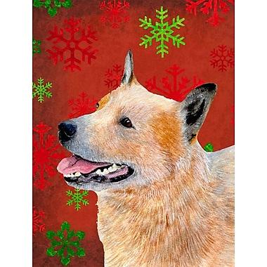 The Holiday Aisle Snowflakes Christmas House Vertical Flag; Australian Cattle Dog (Tan)