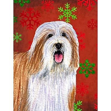 The Holiday Aisle Snowflakes Christmas House Vertical Flag; Bearded Collie 1