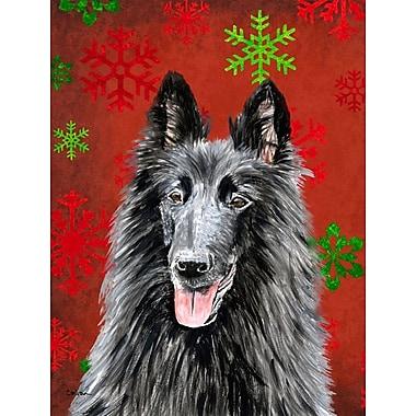 The Holiday Aisle Snowflakes Christmas House Vertical Flag; Belgian Sheepdog