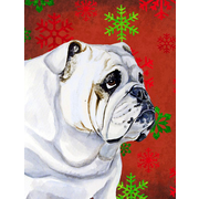 The Holiday Aisle Snowflakes Christmas House Vertical Flag; Bulldog (White)
