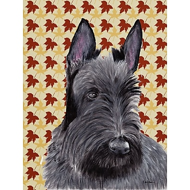East Urban Home Fall Leaves House Vertical Flag; Scottish Terrier (Gray)