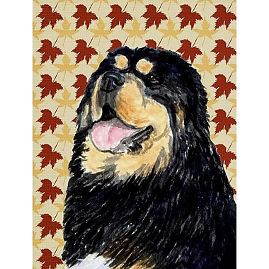 East Urban Home Fall Leaves House Vertical Flag; Tibetan Mastiff