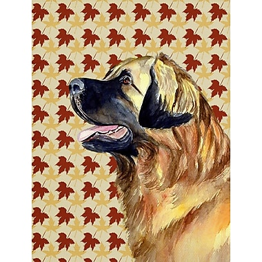 East Urban Home Fall Leaves House Vertical Flag; Leonberger