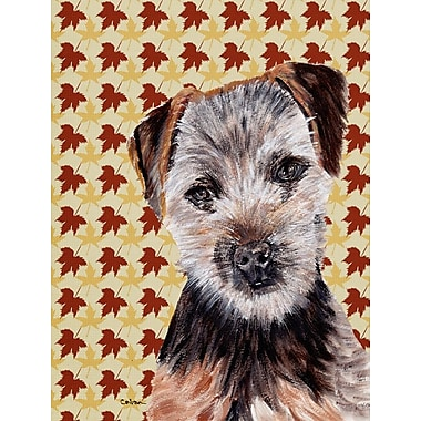 East Urban Home Fall Leaves House Vertical Flag; Norfolk Terrier (Black and Gray)