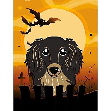 Caroline's Treasures Halloween Spook Vertical Flag; Dachshund (Black)