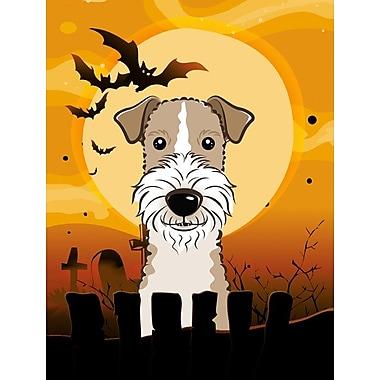 Caroline's Treasures Halloween Spook Vertical Flag; Fox Terrier