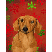 The Holiday Aisle Snowflakes Christmas House Vertical Flag; Dachshund 2