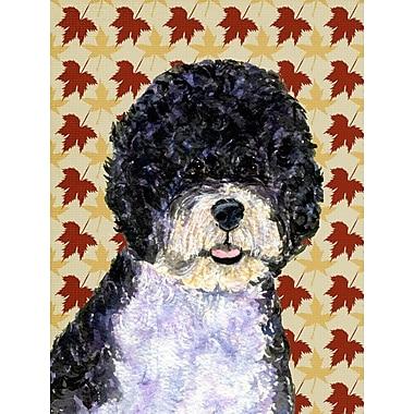 Caroline's Treasures Fall Leaves 2-Sided Garden Flag; Portuguese Water Dog