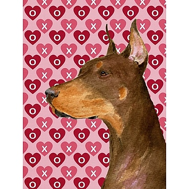 Caroline's Treasures Cooper Love and Hearts Boxer 2-Sided Garden Flag; Doberman (Beige)