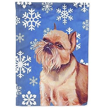East Urban Home Winter Snowflakes Holiday 2-Sided Garden Flag; Brussels Griffon 4