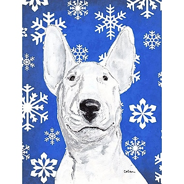 East Urban Home Winter Snowflakes Holiday 2-Sided Garden Flag; Bull Terrier 2