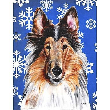 East Urban Home Winter Snowflakes Holiday 2-Sided Garden Flag; Collie