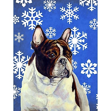 East Urban Home Winter Snowflakes Holiday 2-Sided Garden Flag; French Bulldog 2