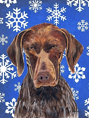 East Urban Home Winter Snowflakes Holiday 2-Sided Garden Flag; German Shorthaired Pointer