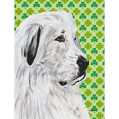 Caroline's Treasures St. Patrick's Day Shamrock House Vertical Flag; Great Pyrenees