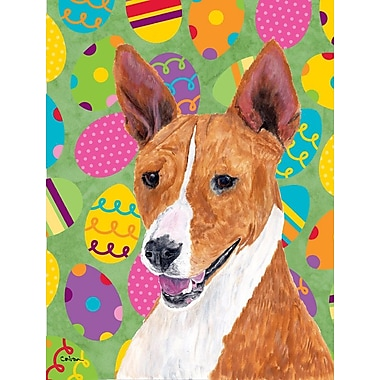 Caroline's Treasures Easter Eggtravaganza 2-Sided Garden Flag; Basenji (Beige and white)