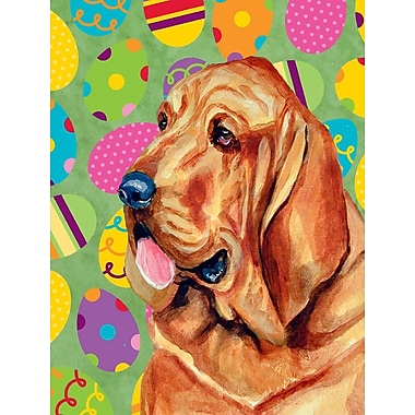 Caroline's Treasures Easter Eggtravaganza 2-Sided Garden Flag; Bloodhound