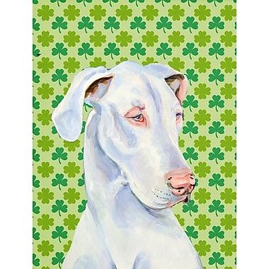 Caroline's Treasures St. Patrick's Day Shamrock House Vertical Flag; Great Dane (White)