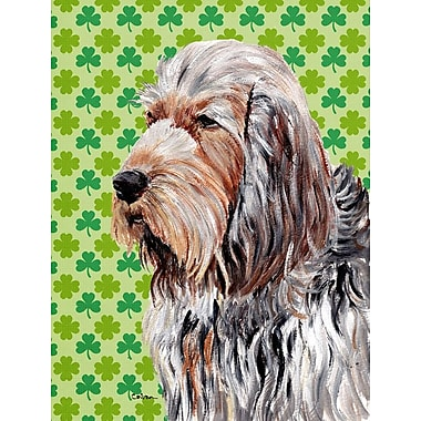 East Urban Home St. Patrick's Day Shamrock 2-Sided Garden Flag; Otterhound (Gray and Brown)