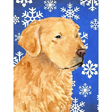 East Urban Home Winter Snowflakes Holiday House Vertical Flag; Golden Retrieve