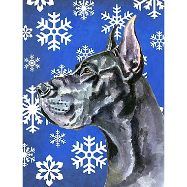 East Urban Home Winter Snowflakes Holiday House Vertical Flag; Great Dane (Black)