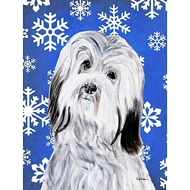 East Urban Home Winter Snowflakes Holiday House Vertical Flag; Havanese