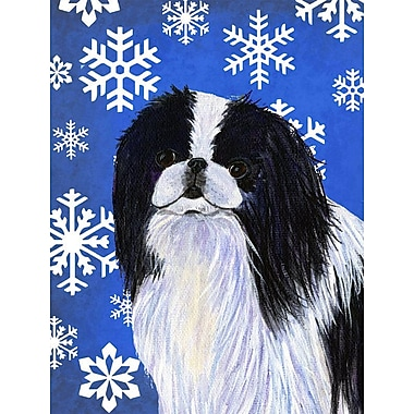 East Urban Home Winter Snowflakes Holiday House Vertical Flag; Japanese Chin