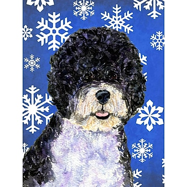 East Urban Home Winter Snowflakes Holiday House Vertical Flag; Portuguese Water Dog