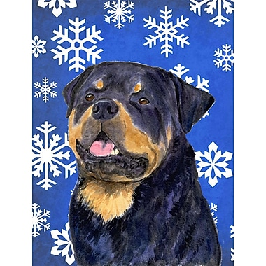 East Urban Home Winter Snowflakes Holiday House Vertical Flag; Rottweiler