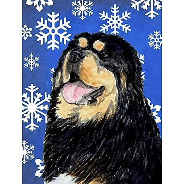 East Urban Home Winter Snowflakes Holiday House Vertical Flag; Tibetan Mastiff