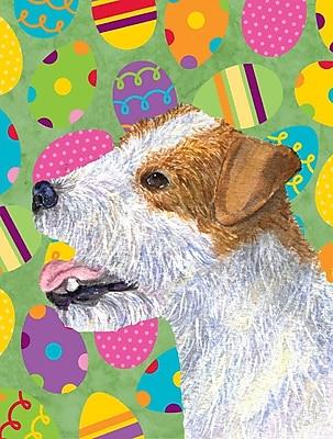 Caroline's Treasures Easter Eggtravaganza House Vertical Flag; Jack Russell Terrier