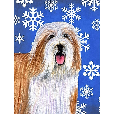 East Urban Home Winter Snowflakes Holiday House Vertical Flag; Bearded Collie (White & Brown)