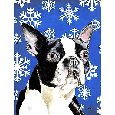 East Urban Home Winter Snowflakes Holiday House Vertical Flag; Boston Terrier (Gray)